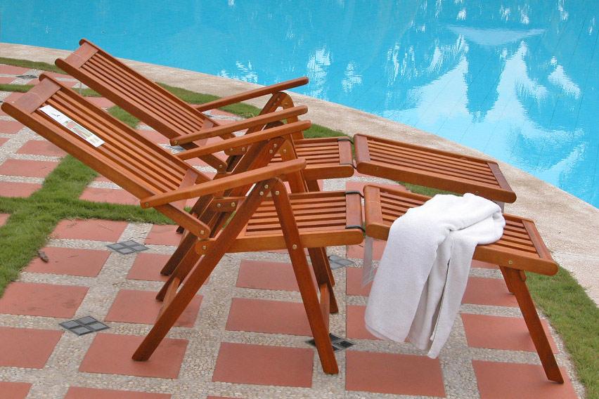 Fußteil für Gartenmöbel Gartenstuhl Relaxstuhl Eukalyptusholz wie ...