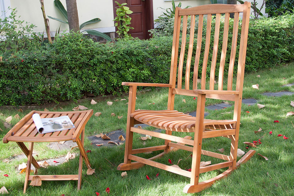 holz gartenm bel schaukelstuhl garten wipstuhl gartenstuhl akazie teak hnlich ebay. Black Bedroom Furniture Sets. Home Design Ideas